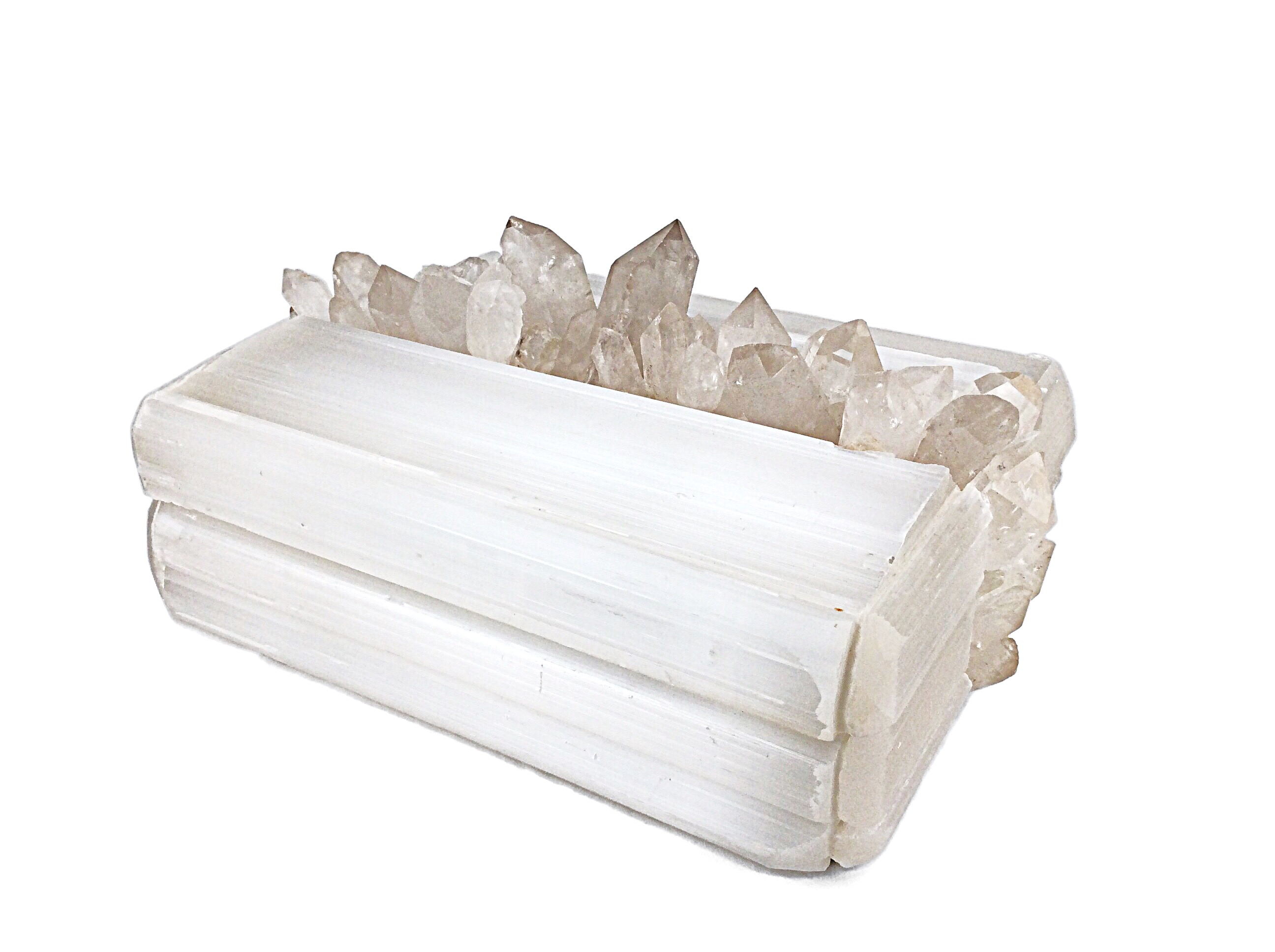 STRYPE - Selenite and Quartz Coffee Table Box