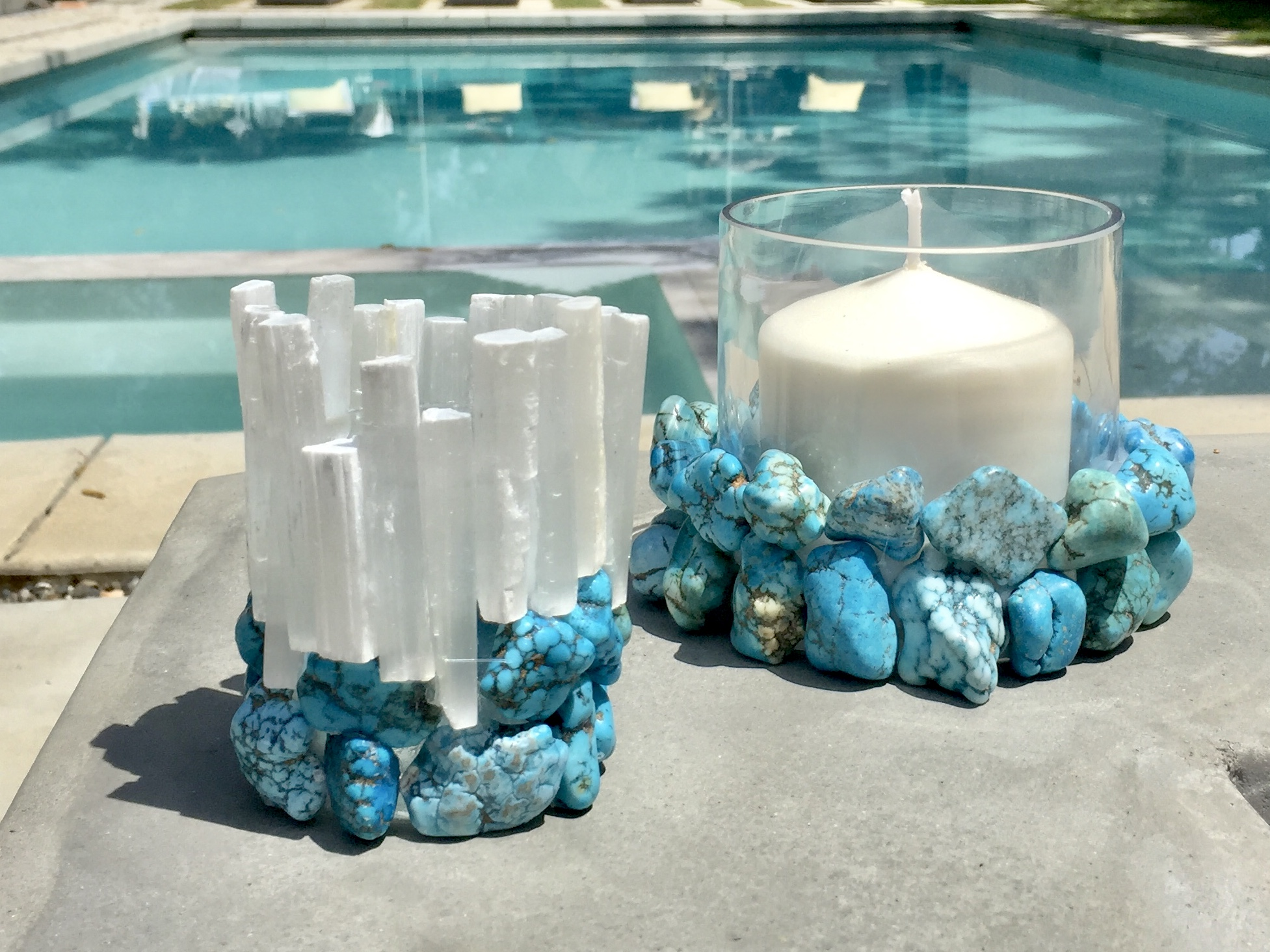 Selenite and Turquoise Votive